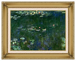 Claude Monet Green Reflections II Center Detail canvas with gallery gold wood frame