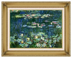 Claude Monet Green Reflections III Right Detail canvas with gallery gold wood frame