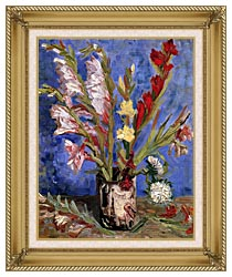 Vincent Van Gogh Vase With Gladioli canvas with gallery gold wood frame