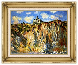 Claude Monet The Church At Varengeville Morning Effect Landscape Detail canvas with gallery gold wood frame