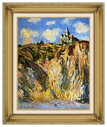 Claude Monet The Church At Varengeville Morning Effect Portrait Detail canvas with gallery gold wood frame