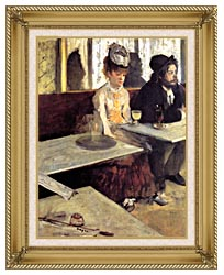 Edgar Degas The Absinthe Drinker In A Cafe canvas with gallery gold wood frame