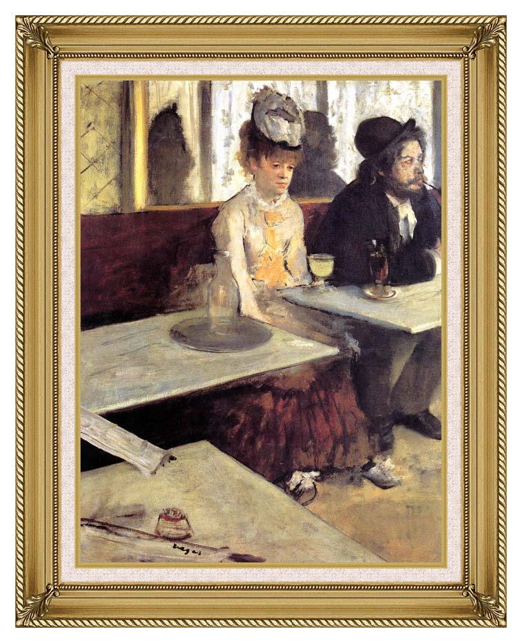 Edgar Degas The Absinthe Drinker in a Cafe with Gallery Gold Frame w/Liner