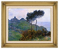 Claude Monet The Church At Varengeville Grey Weather canvas with gallery gold wood frame