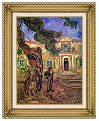 Vincent Van Gogh Pine Tree And Figure In Front Of The Saint Paul Hospital canvas with gallery gold wood frame