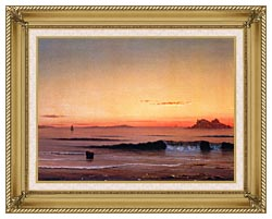 Martin Johnson Heade Twilight Singing Beach Detail canvas with gallery gold wood frame