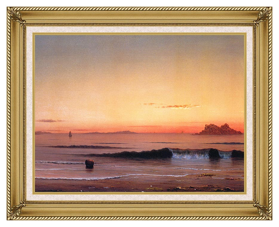 Martin Johnson Heade Twilight, Singing Beach (detail) with Gallery Gold Frame w/Liner
