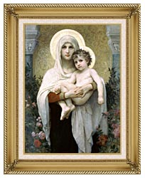 William Bouguereau Madonna Of The Roses canvas with gallery gold wood frame