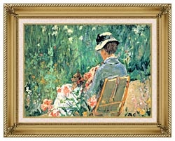 Mary Cassatt Lydia Seated In The Garden With A Dog canvas with gallery gold wood frame