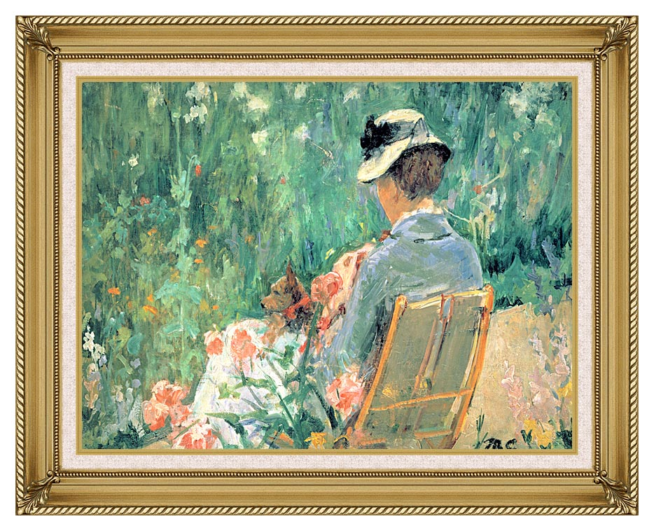 Mary Cassatt Lydia Seated in the Garden with a Dog with Gallery Gold Frame w/Liner