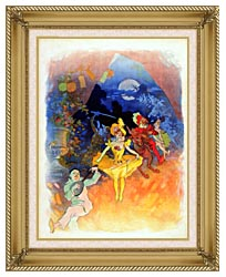 Jules Cheret Musee Grevin canvas with gallery gold wood frame