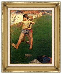 Paul Gauguin Boys Wrestling canvas with gallery gold wood frame
