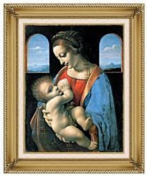 Leonardo Da Vinci Madonna Litta canvas with gallery gold wood frame