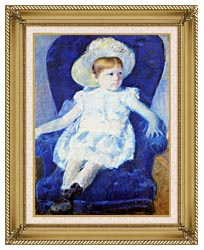 Mary Cassatt Elsie In A Blue Chair canvas with gallery gold wood frame