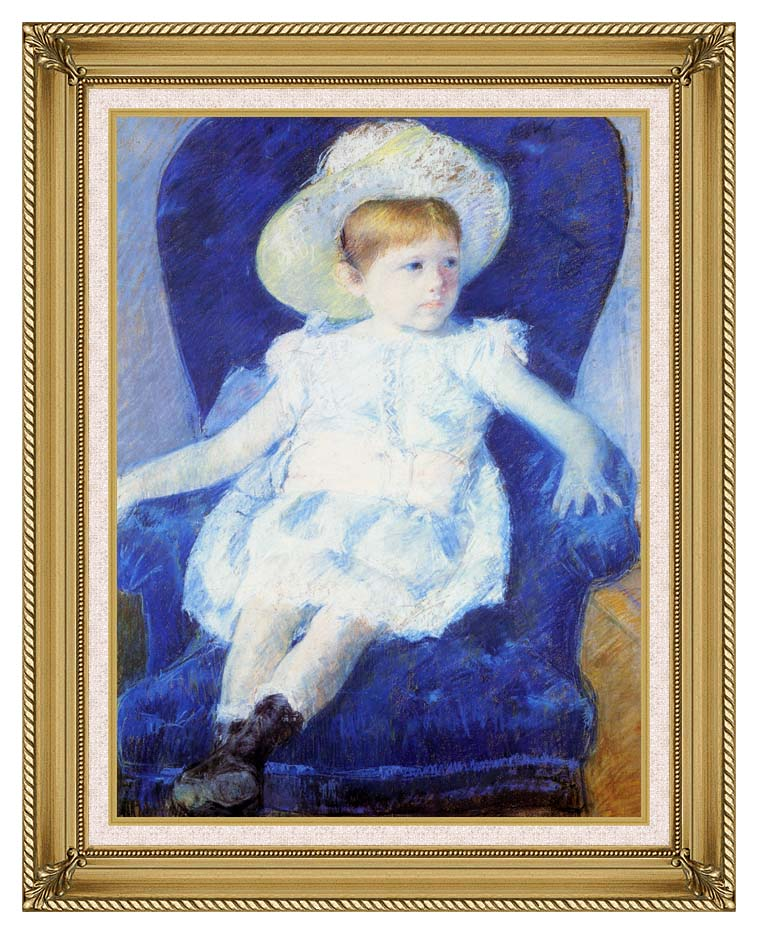 Mary Cassatt Elsie in a Blue Chair with Gallery Gold Frame w/Liner