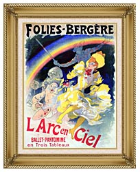 Jules Cheret Folies Bergere Larc En Ciel canvas with gallery gold wood frame