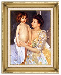 Mary Cassatt Jules Being Dried By His Mother canvas with gallery gold wood frame