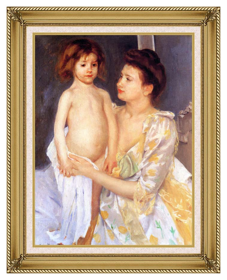 Mary Cassatt Jules Being Dried by his Mother with Gallery Gold Frame w/Liner