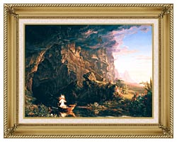 Thomas Cole The Voyage Of Life Childhood canvas with gallery gold wood frame