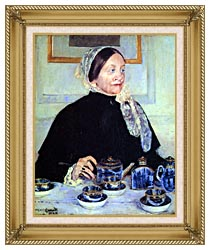 Mary Cassatt Lady At The Tea Table canvas with gallery gold wood frame