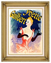 Jules Cheret Yvette Guilbert Au Concert Parisien canvas with gallery gold wood frame