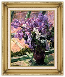 Mary Cassatt Lilacs In The Window canvas with gallery gold wood frame