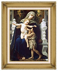 William Bouguereau Madonna And Child With Saint John The Baptist canvas with gallery gold wood frame