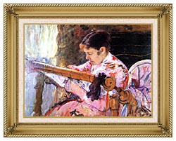 Mary Cassatt Lydia At The Tapestry Loom canvas with gallery gold wood frame