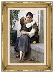 William Bouguereau A Little Coaxing canvas with gallery gold wood frame
