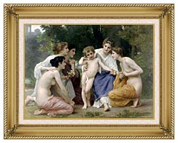 William Bouguereau Admiration canvas with gallery gold wood frame