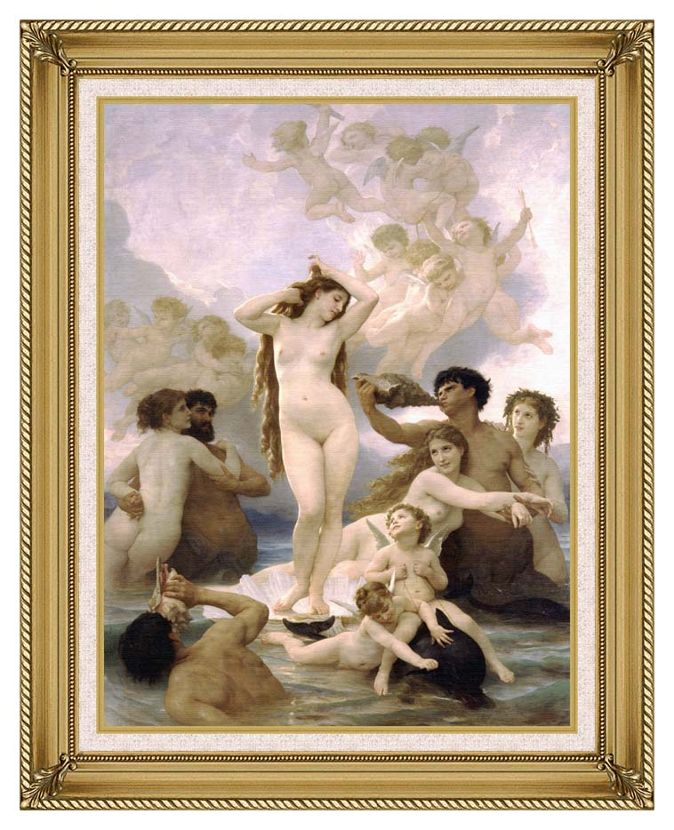 William Bouguereau The Birth of Venus with Gallery Gold Frame w/Liner