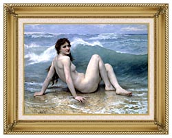William Bouguereau The Wave canvas with gallery gold wood frame