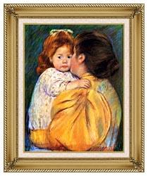 Mary Cassatt Maternal Kiss canvas with gallery gold wood frame