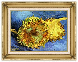 Vincent Van Gogh Two Sunflowers canvas with gallery gold wood frame
