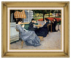 Gustave Caillebotte Portraits In The Countryside canvas with gallery gold wood frame