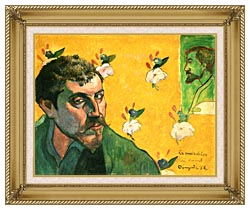 Paul Gauguin Self Portrait Dedicated To Vincent Van Gogh canvas with gallery gold wood frame