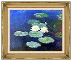 Claude Monet Nympheas Effet Du Soir canvas with gallery gold wood frame