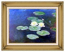 Claude Monet Nympheas Effet Du Soir Detail canvas with gallery gold wood frame