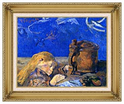 Paul Gauguin Sleeping Child canvas with gallery gold wood frame