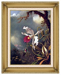 Martin Johnson Heade An Amethyst Hummingbird With A White Orchid canvas with gallery gold wood frame