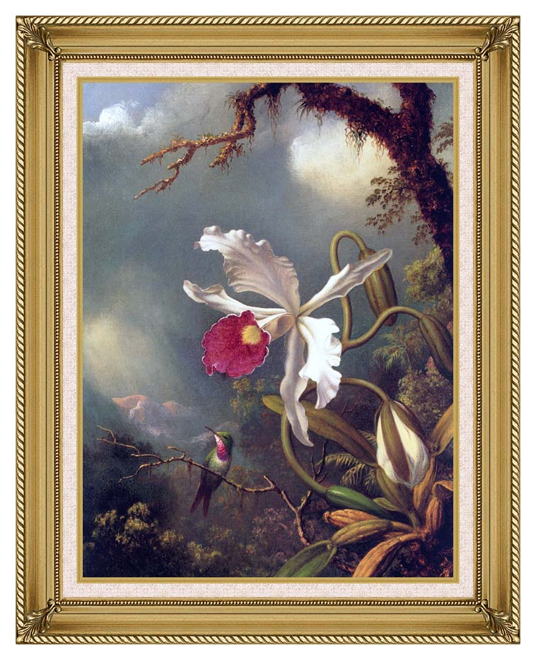 Martin Johnson Heade An Amethyst Hummingbird with a White Orchid with Gallery Gold Frame w/Liner