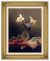 Martin Johnson Heade A Vase Of Corn Lilies And Heliotrope canvas with gallery gold wood frame