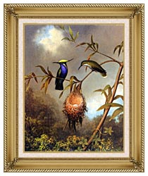 Martin Johnson Heade Black Breasted Plovercrest canvas with gallery gold wood frame