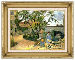 Paul Gauguin The Artists Family In The Garden Of Rue Carcel canvas with gallery gold wood frame
