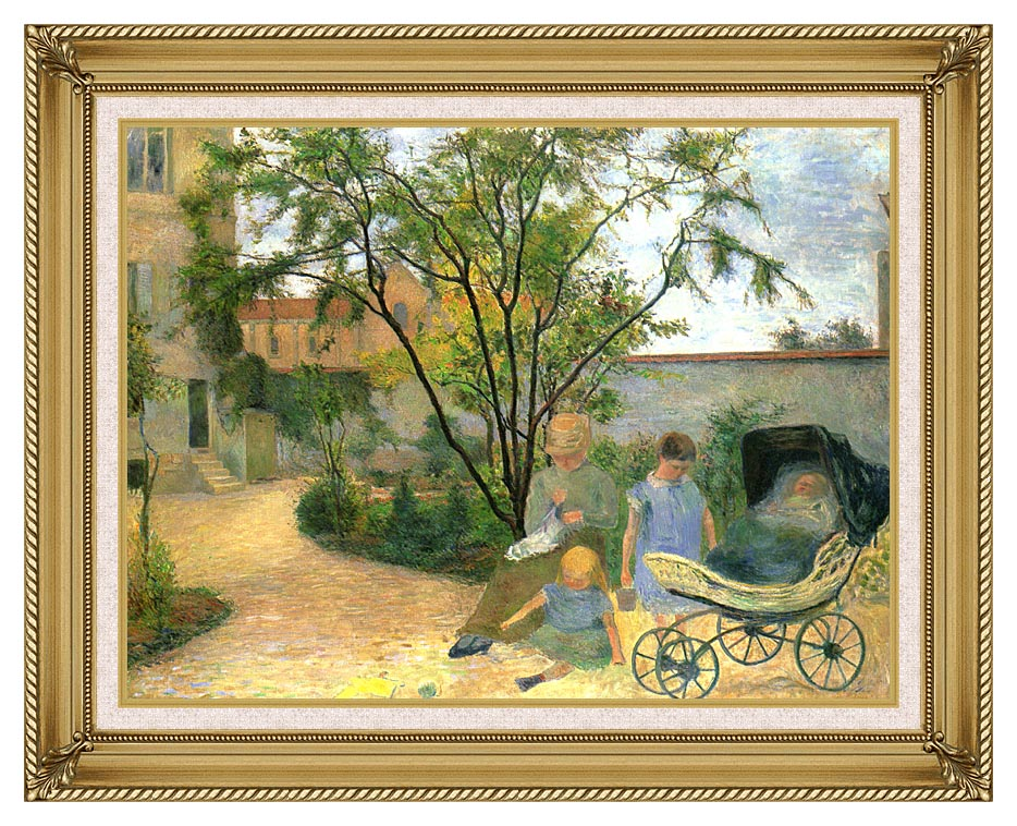 Paul Gauguin The Artist's Family in the Garden of Rue Carcel with Gallery Gold Frame w/Liner