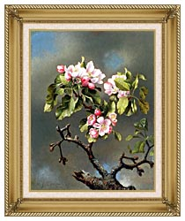 Martin Johnson Heade Branch Of Apple Blossoms Against A Cloudy Sky canvas with gallery gold wood frame