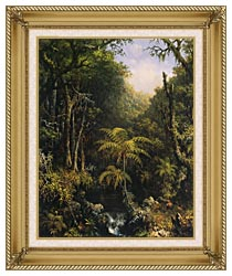 Martin Johnson Heade Brazilian Forest canvas with gallery gold wood frame