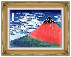 Katsushika Hokusai Mount Fuji In Clear Weather canvas with gallery gold wood frame