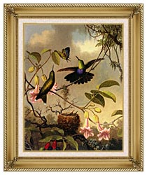 Martin Johnson Heade Fork Tailed Woodnymph canvas with gallery gold wood frame