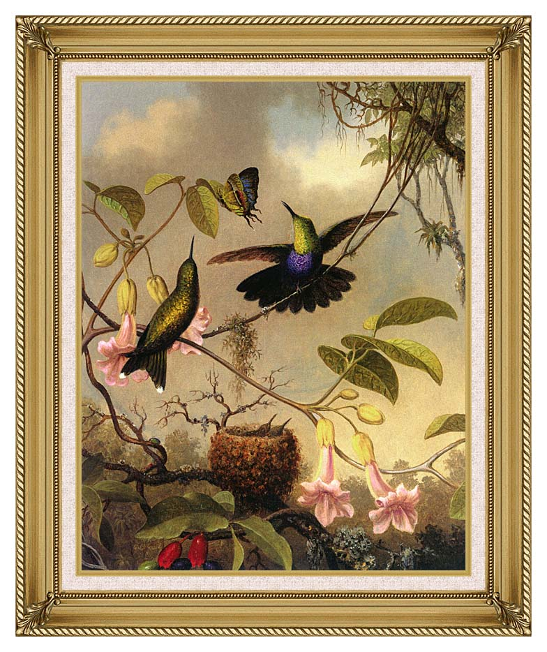 Martin Johnson Heade Fork Tailed Woodnymph with Gallery Gold Frame w/Liner